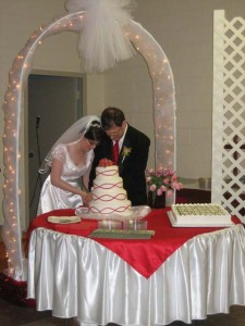 Rebekah and Andy cut the cake