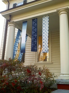 Shibori banners on the porch
