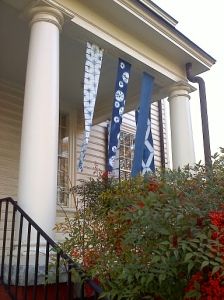 Shibori banners on the porch, other side