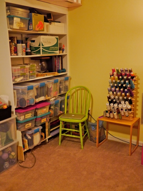 Slightly closer view of my shelves & organized serger thread