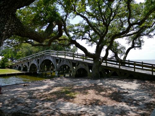 Bridge under live oaks.