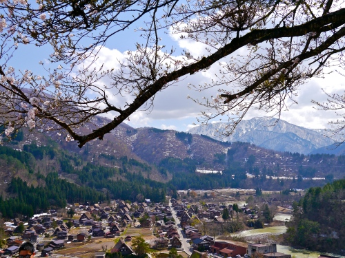 From atop a hill overlooking Shirakawa-go.