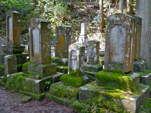 Moss-covered grave monuments in the forest.