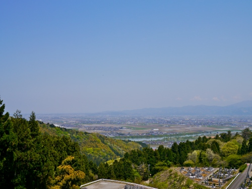 Looking back toward Fukui over one of the newer cemeteries.