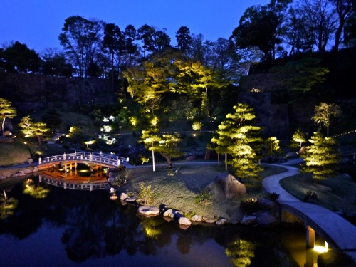 Kanazawa Castle garden at night.