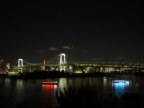 Tourist boats lit up for an evening sail by the Rainbow Bridge.
