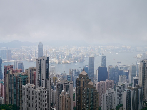 Hong Kong from Victoria Peak, just below the clouds.