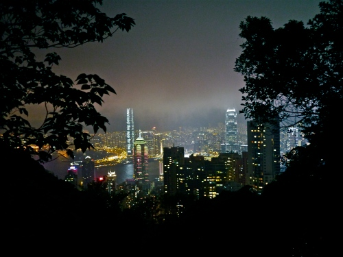 Hong Kong at night from the trail on Victoria Peak.