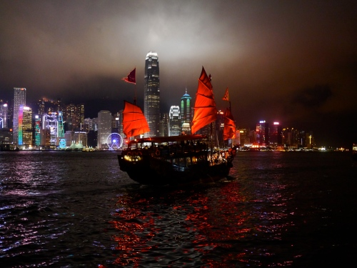Dramatic sails against the Hong Kong skyline.