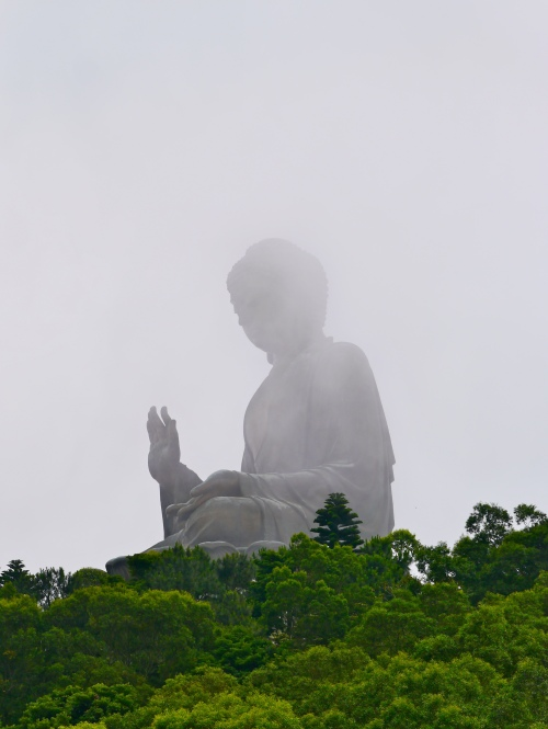Tian Tan Buddha, head in the clouds.