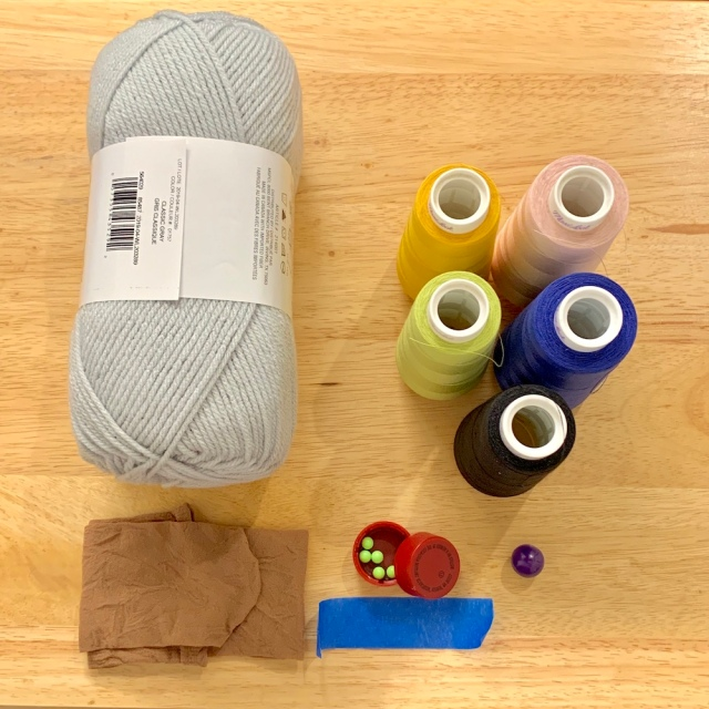 Materials needed to make and wrap a temari core.
